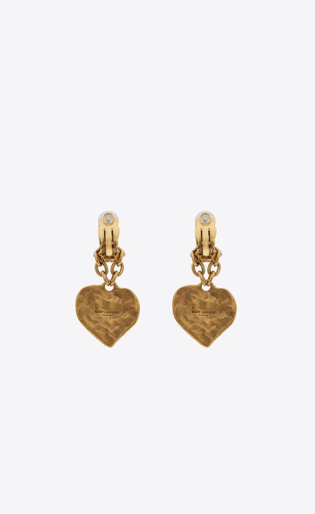 love heart pendant earrings in metal