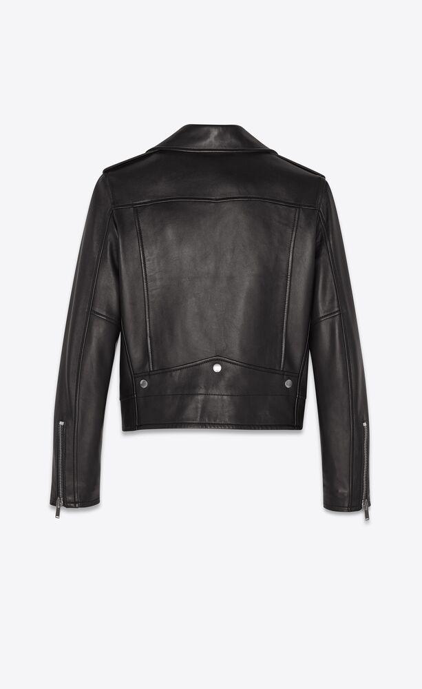 jacke im motorcycle-stil aus schwarzem leder