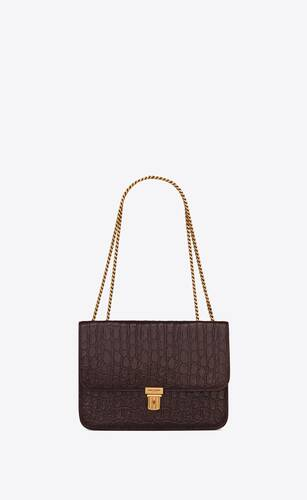 tuc chain bag in crocodile-embossed leather