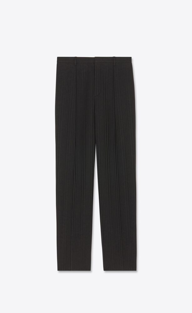 pleated pants in raised-stripe wool sablé