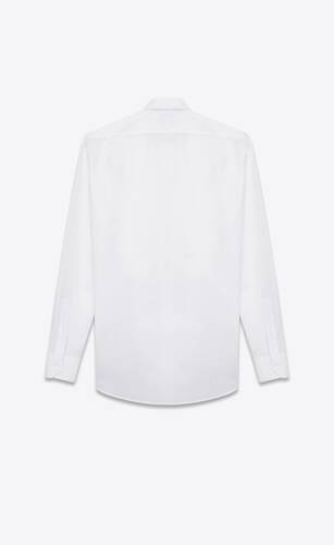 pique plastron yves collar shirt in white cotton poplin