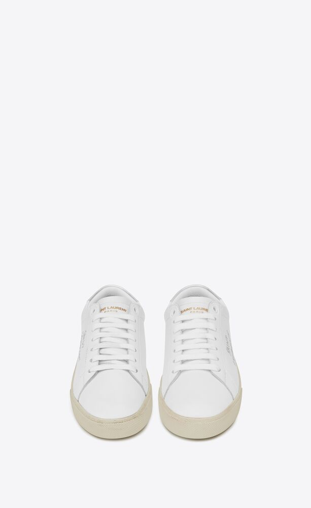 court classic sl/06 embroidered sneakers in smooth and metallic leather