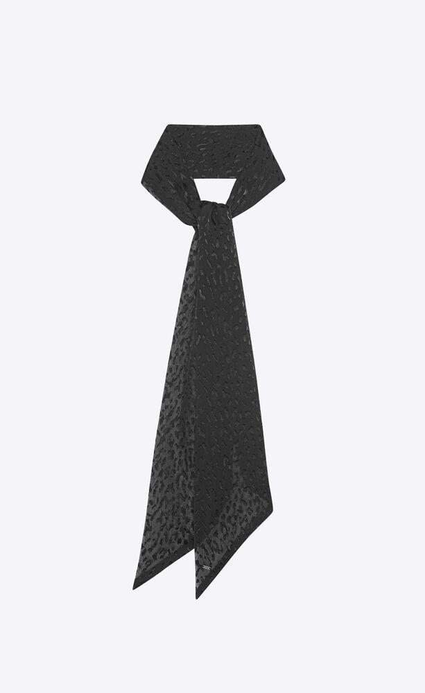 lavallière scarf in leopard-print dévoré satin
