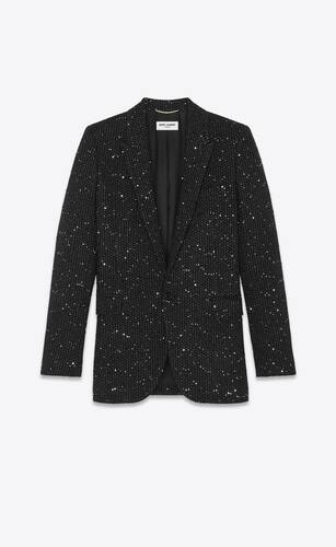 single-breasted long jacket in lamé tweed with sequins