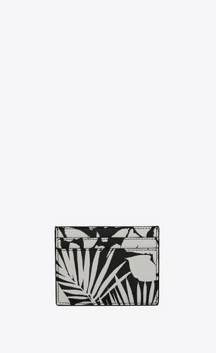 card case in tropical-print grain de poudre embossed leather