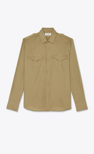 pleated army shirt in twill