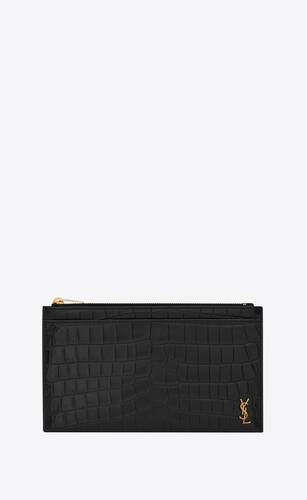 tiny monogram bill pouch in crocodile embossed matte leather