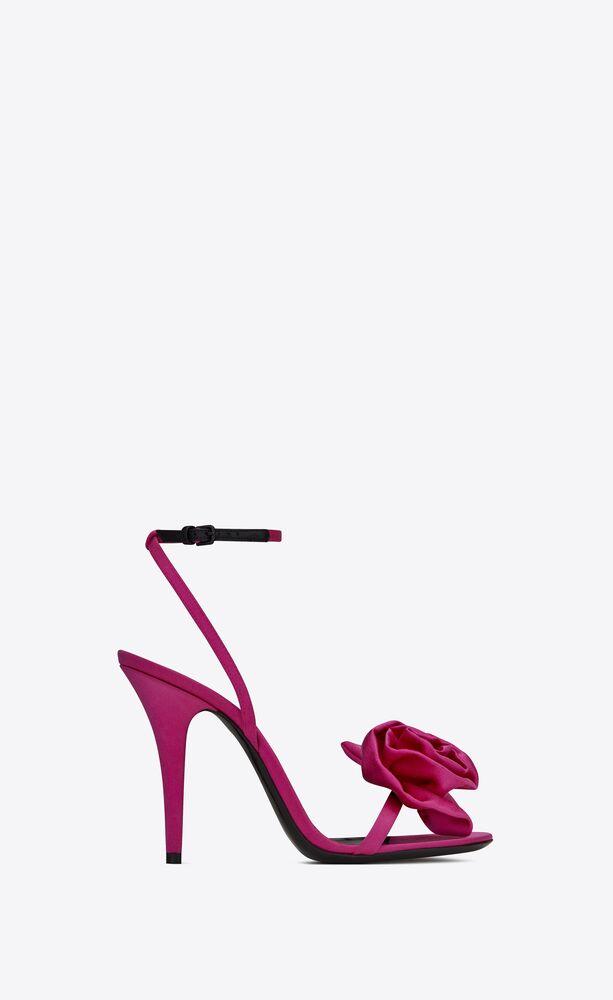 ivy flower sandals in silk satin