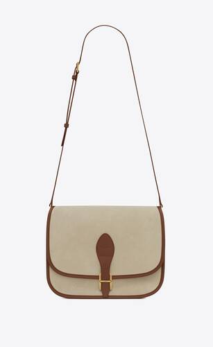 medium francoise satchel in suede and leather