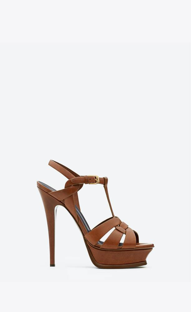 tribute platform sandals in smooth leather