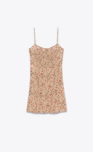 sleeveless dress in floral silk crepe de chine