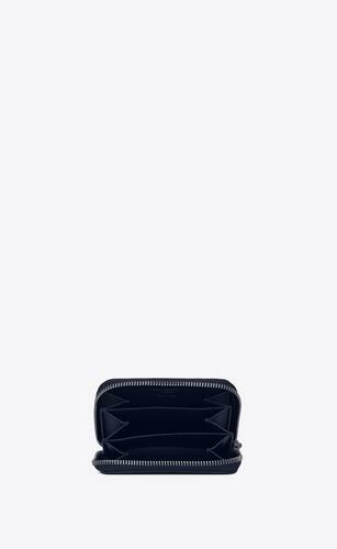 zipped coin purse in grain de poudre embossed leather