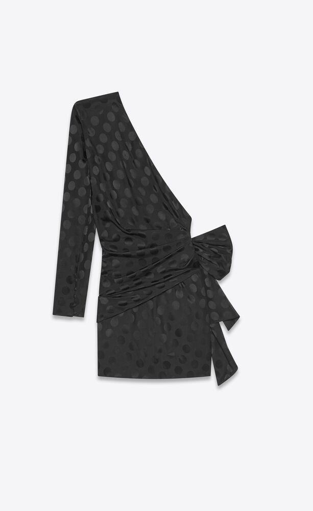 one-shoulder bow dress in polka dot silk jacquard