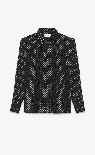 yves collar classic shirt in dotted silk crepe de chine