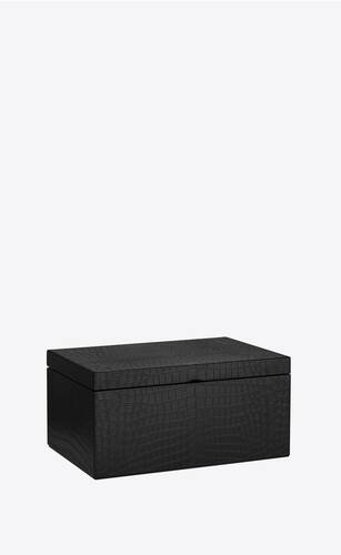medium crocodile embossed leather box