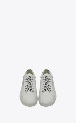 andy sneakers in perforated and babycat printed leather