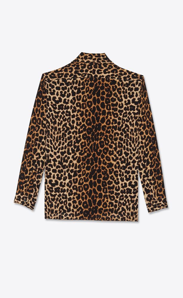 lavallière-neck shirt in leopard-print silk crepe de chine