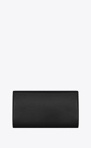 large monogram flap wallet in shiny leather