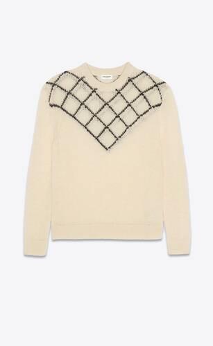 suéter con plastrón de rombos