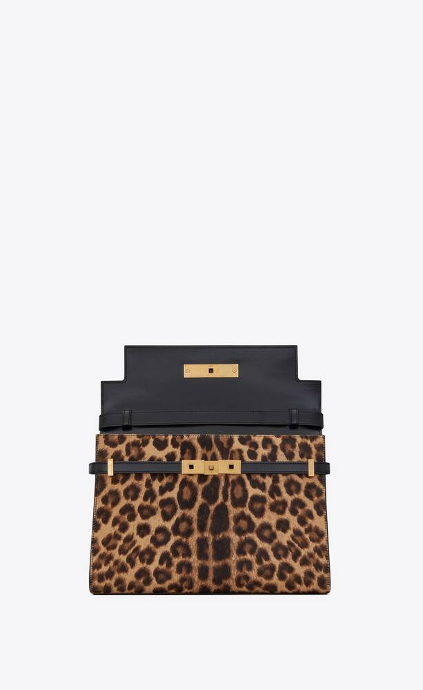 manhattan shoulder bag in leopard-print pony-effect leather and smooth leather