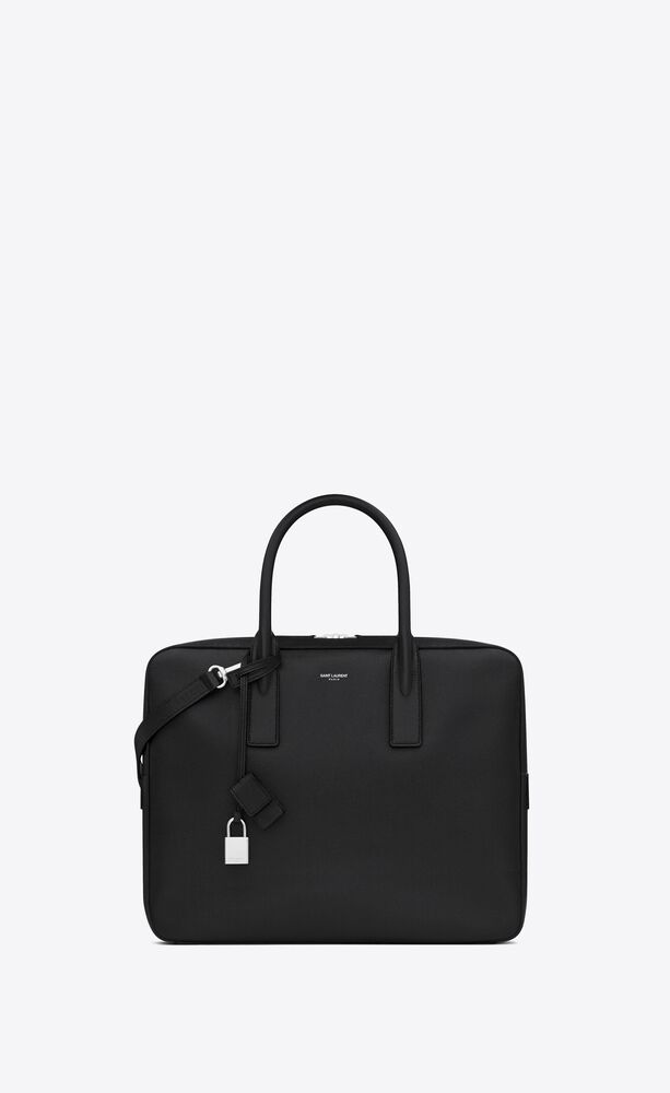 museum small flat briefcase in black textured leather