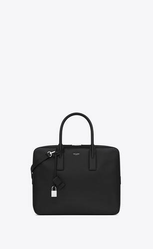 small museum flat briefcase in black textured leather