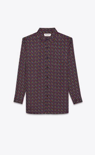 long overshirt in matte and shiny mini checks