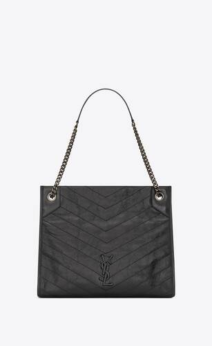 niki medium shopping bag in crinkled vintage leather