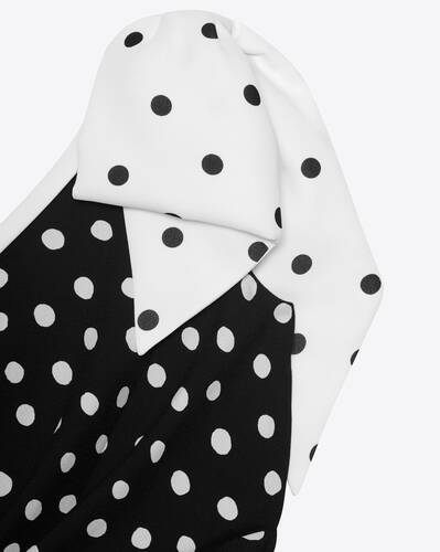 one-shoulder bow mini dress in dotted sablé