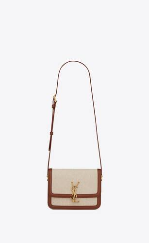 solferino small satchel in canvas and box saint laurent leather