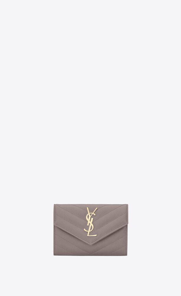 monogram envelope kleines leder portemonnaie mit grain-de-poudre-prägung