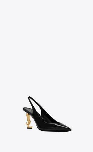 opyum slingback pumps in patent leather with gold-tone heel