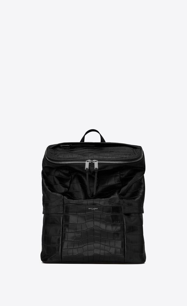 sid backpack in crocodile-embossed matte leather and nylon