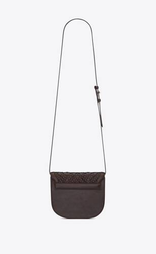 kaia small satchel in matte leather and matte woven leather