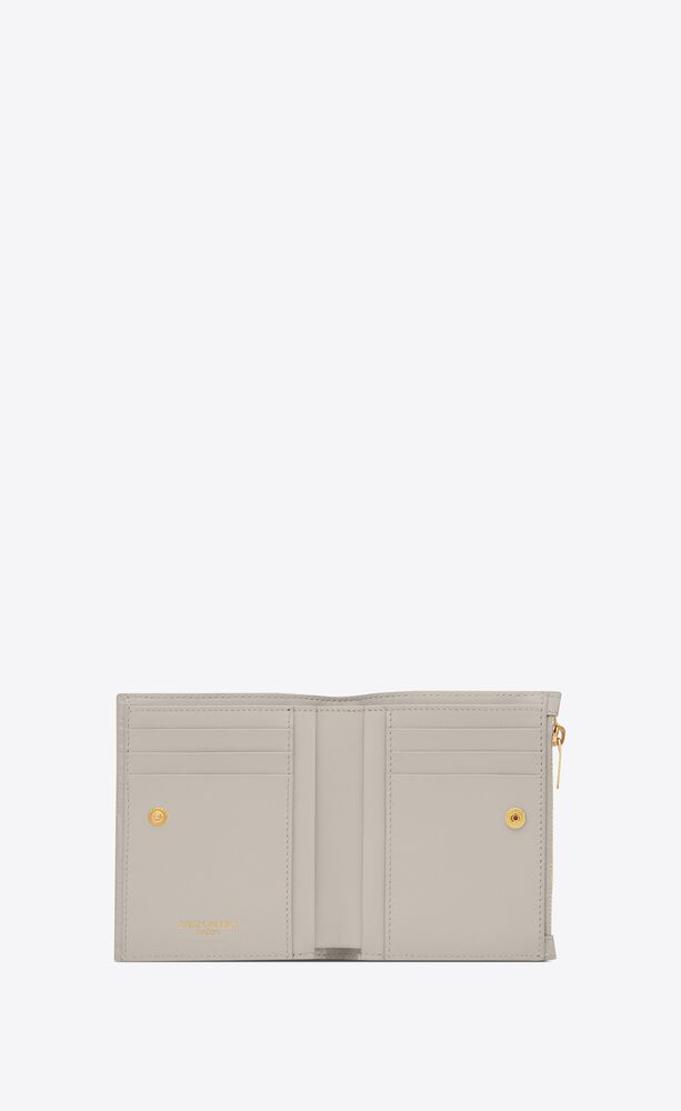 uptown compact wallet in crocodile-embossed shiny embossed leather