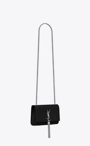 kate chain and tassel bag in black textured leather