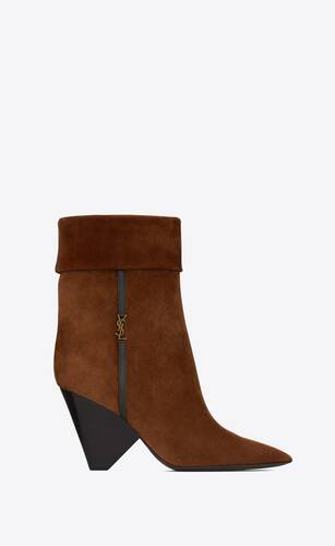 niki booties in suede and gold-tone monogram