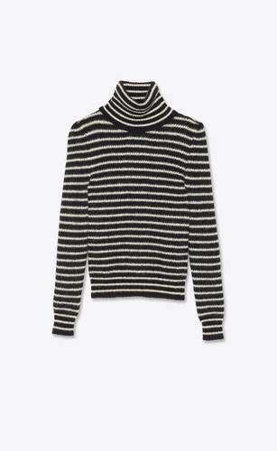 striped turtleneck sweater in mohair