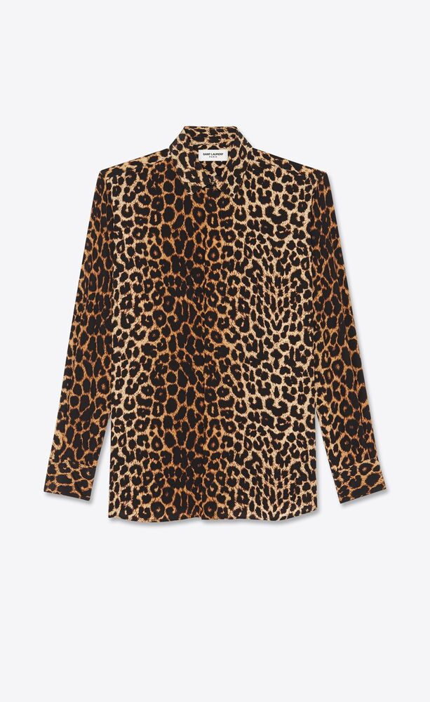 leopard-print shirt in silk crepe de chine