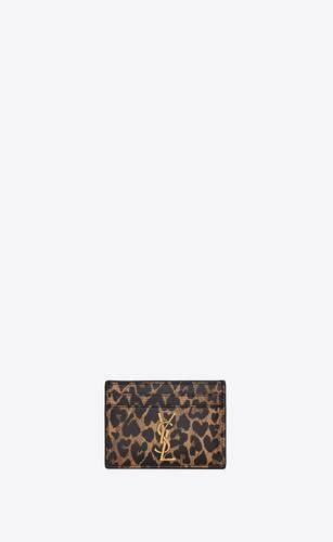 tarjetero monogram de piel con estampado de leopardo en forma de corazón