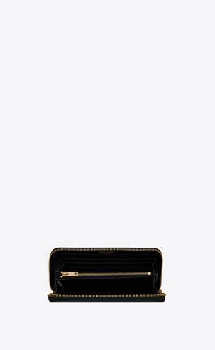 tiny monogram zip-around wallet in crocodile-embossed matte leather