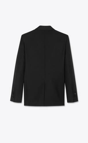 double-breasted square-cut long tuxedo jacket in wool twill