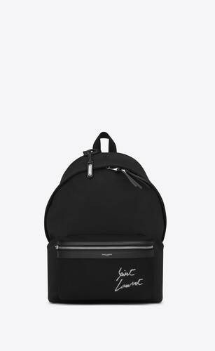 saint laurent embroidered city backpack in canvas