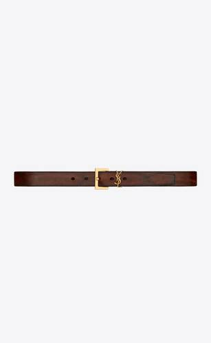 monogram belt with square buckle in aged raw leather