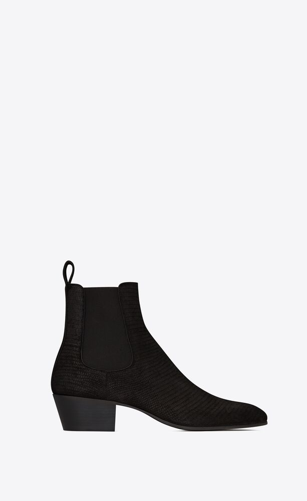 cole chelsea boots en suède embossé lézard