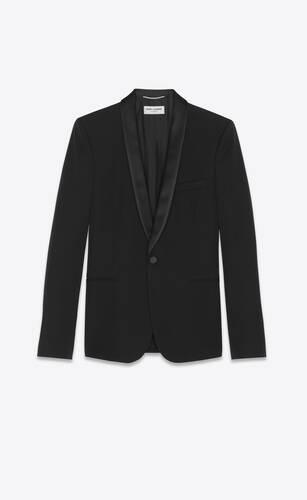 chaqueta con cuello chal de grain de poudre orgánico negro