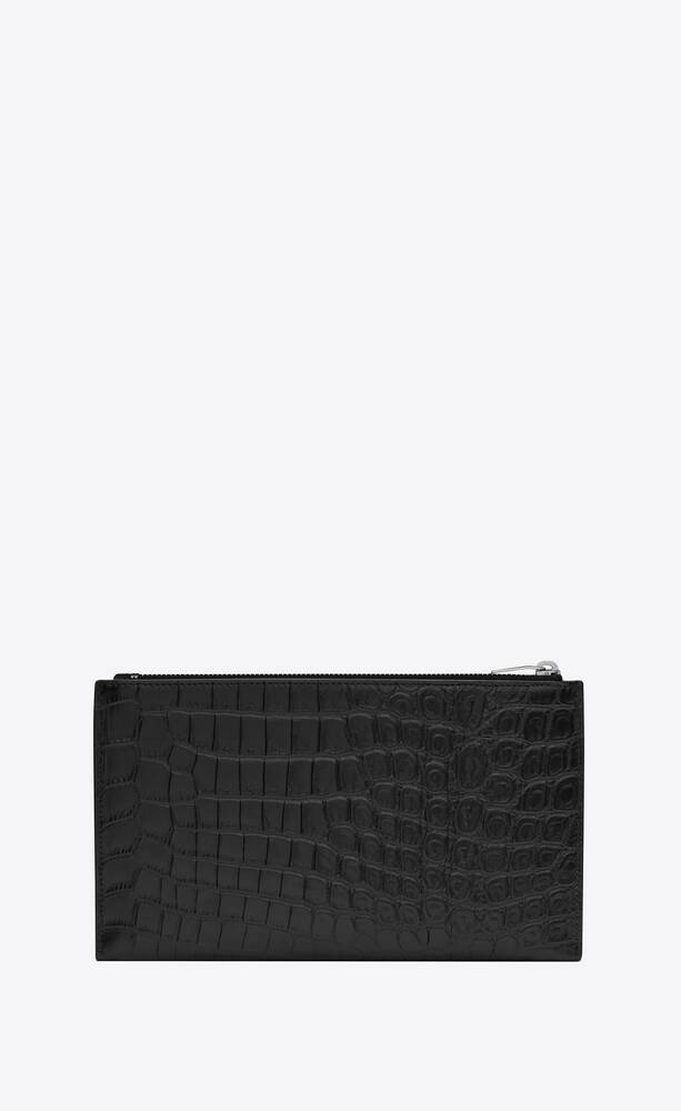 bill pouch in matte crocodile embossed leather