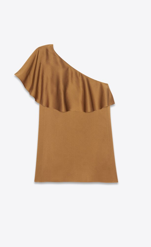 one-shoulder ruffle mini dress in satin crepe