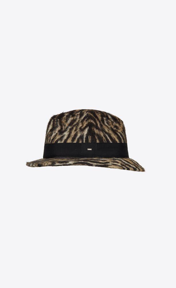 fedora hat in ocelot-print brushed wool felt