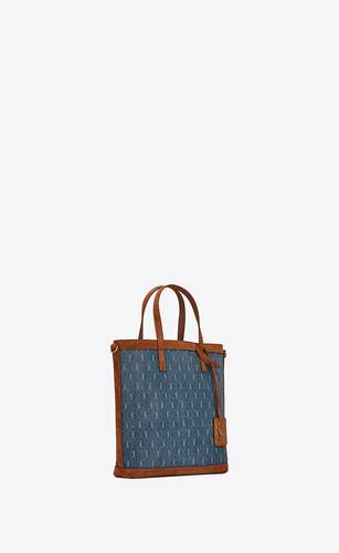 le monogramme saint laurent n/s toy shopping bag in denim and suede